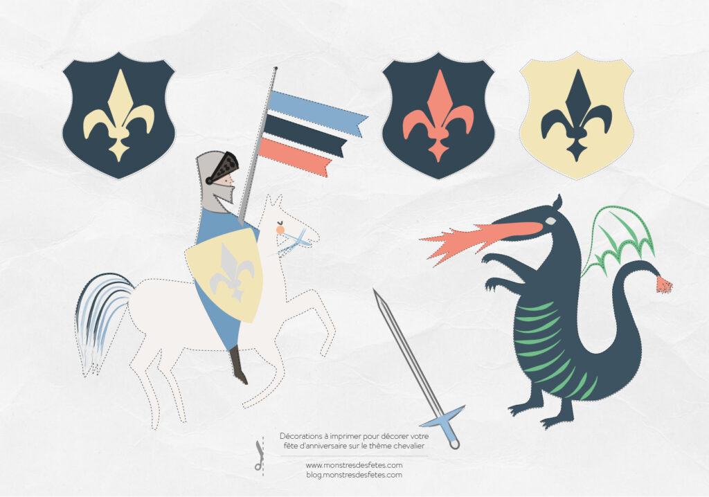 Thème chevalier : de la décoration d'anniversaire gratuite  à découper pour compléter votre déco de fête.