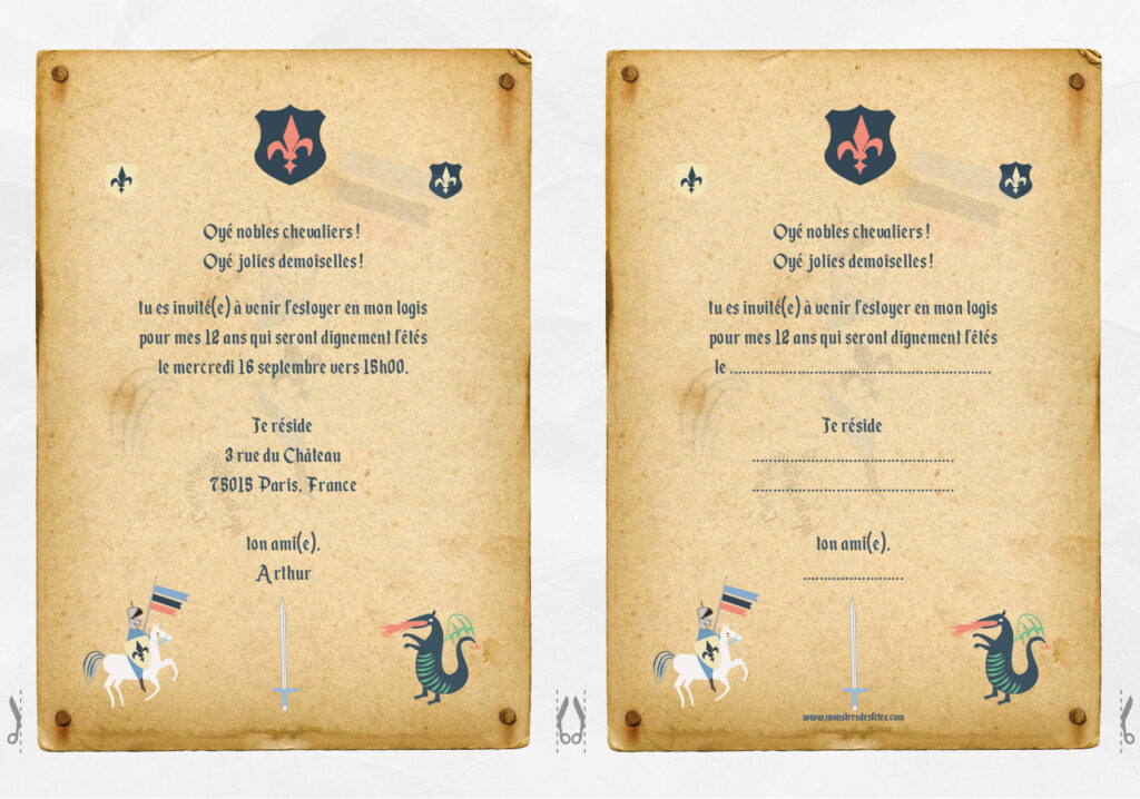 Une invitation gratuite à télécharger et à imprimer pour un anniversaire sur le thème Chevalier contre dragon.