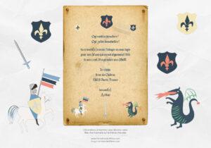 Invitation gratuite anniversaire thème chevalier