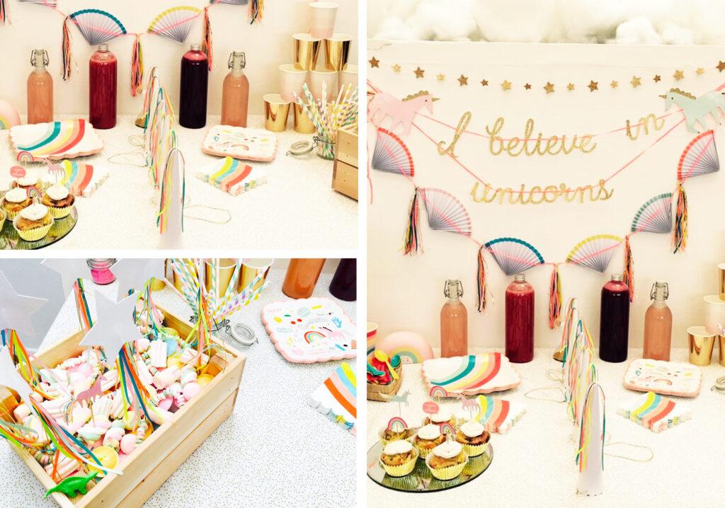 Découvre la décoration d'anniversaire sur le thème de la licorne. Idées, photos et gâteaux pour une fête 100% licorne.
