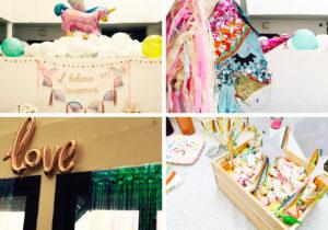 Décoration anniversaire sur le thème licorne.