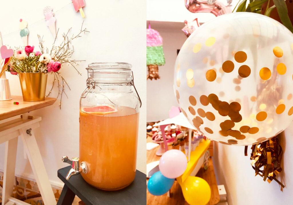 Distributeur de jus fait maison : un vrai régal ! Ballon à confettis en premier plan. Ballons de baudruche unis et piñata glace en second plan.